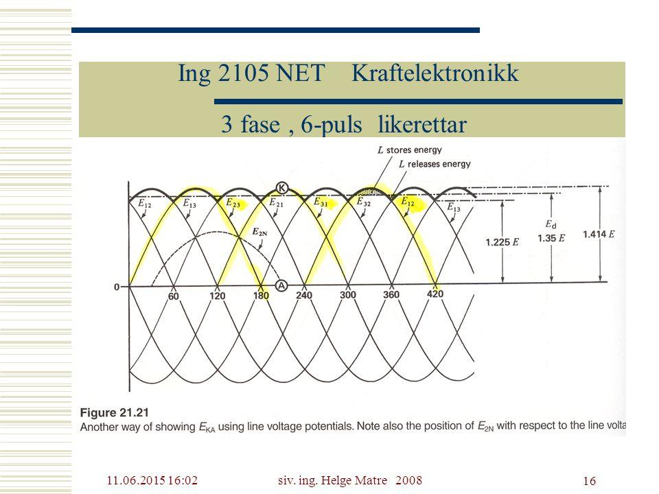 11.06.2015 16:03siv. ing. Helge Matre 2008 16 Ing 2105 NET Kraftelektronikk 3 fase, 6-puls likerettar