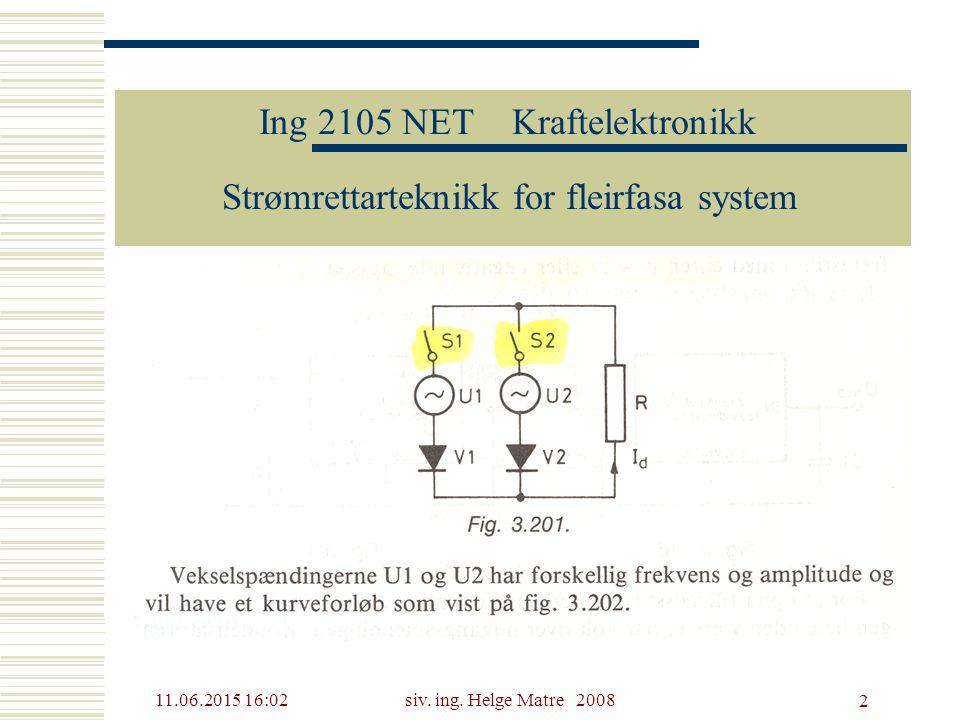 11.06.2015 16:03siv. ing. Helge Matre 2008 2 Ing 2105 NET Kraftelektronikk Strømrettarteknikk for fleirfasa system