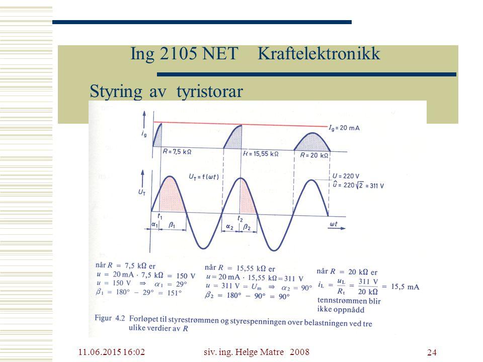 11.06.2015 16:03siv. ing. Helge Matre 2008 24 Ing 2105 NET Kraftelektronikk Styring av tyristorar
