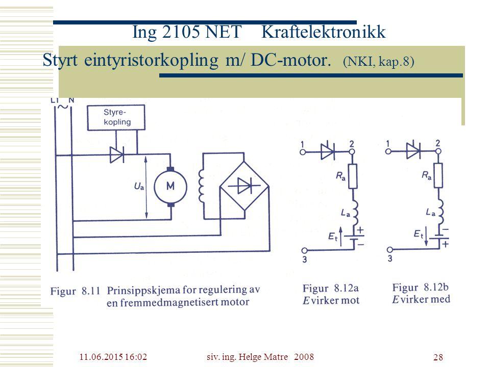 11.06.2015 16:03siv. ing. Helge Matre 2008 28 Ing 2105 NET Kraftelektronikk Styrt eintyristorkopling m/ DC-motor. (NKI, kap.8)
