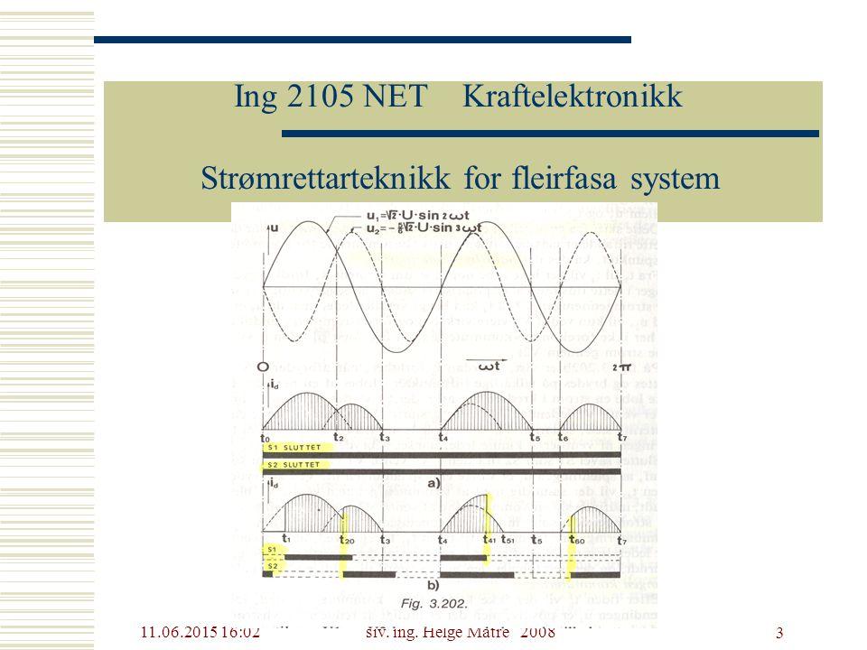 11.06.2015 16:03siv. ing. Helge Matre 2008 3 Ing 2105 NET Kraftelektronikk Strømrettarteknikk for fleirfasa system