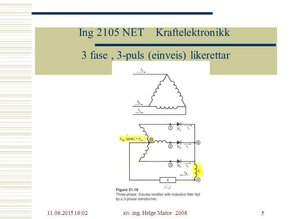 11.06.2015 16:03siv. ing. Helge Matre 2008 5 Ing 2105 NET Kraftelektronikk 3 fase, 3-puls (einveis) likerettar
