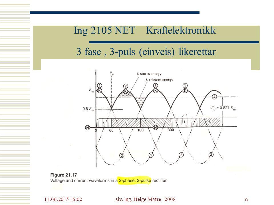 11.06.2015 16:03siv. ing. Helge Matre 2008 6 Ing 2105 NET Kraftelektronikk 3 fase, 3-puls (einveis) likerettar