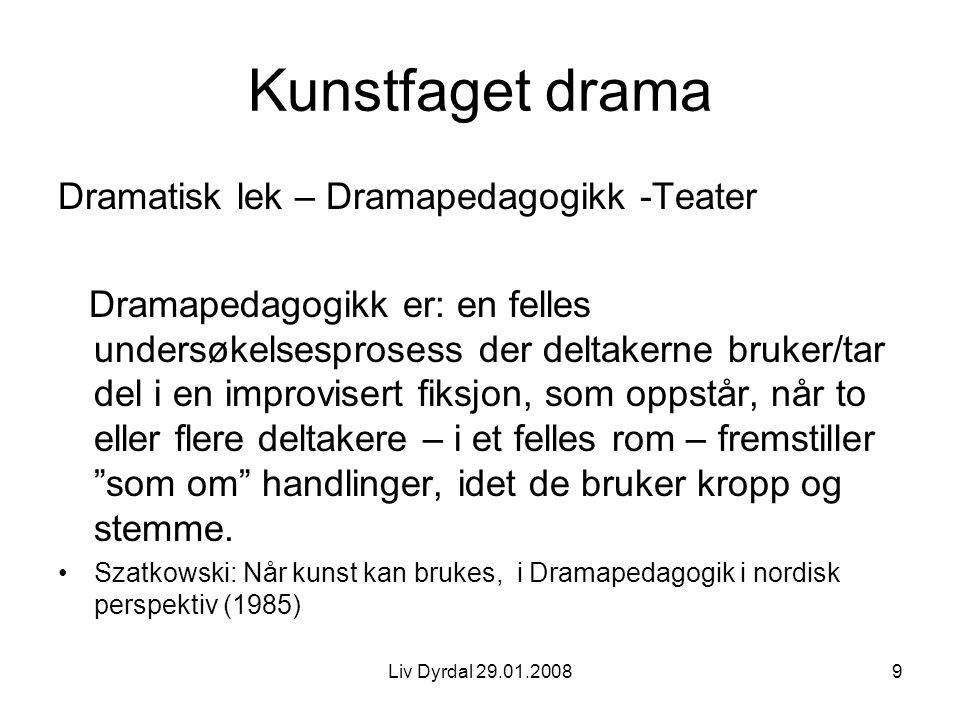 Liv Dyrdal 29.01.20089 Kunstfaget drama Dramatisk lek – Dramapedagogikk -Teater Dramapedagogikk er: en felles undersøkelsesprosess der deltakerne bruk