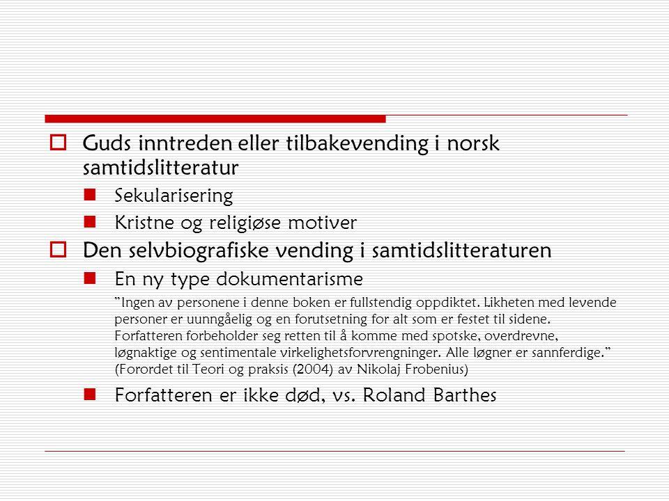  Guds inntreden eller tilbakevending i norsk samtidslitteratur Sekularisering Kristne og religiøse motiver  Den selvbiografiske vending i samtidslit