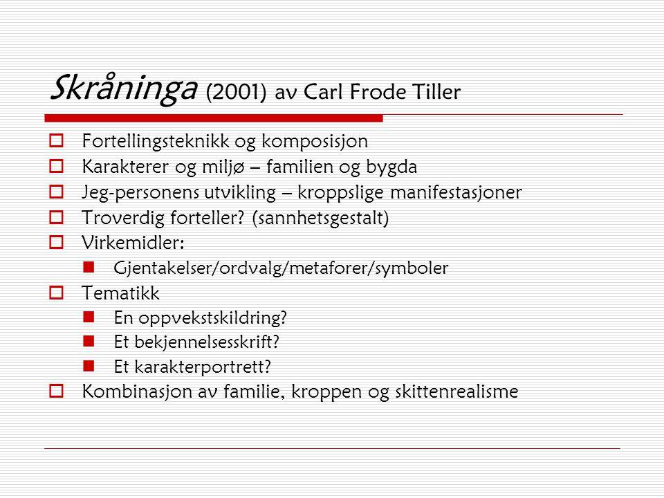 Skråninga (2001) av Carl Frode Tiller  Fortellingsteknikk og komposisjon  Karakterer og miljø – familien og bygda  Jeg-personens utvikling – kropps