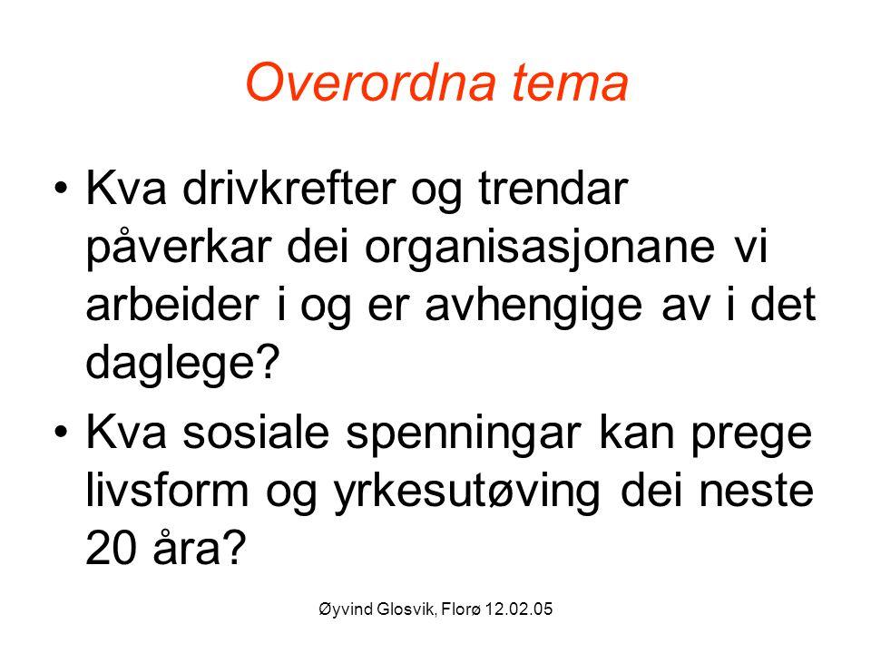 Øyvind Glosvik, Florø 12.02.05 Overordna tema Kva drivkrefter og trendar påverkar dei organisasjonane vi arbeider i og er avhengige av i det daglege?