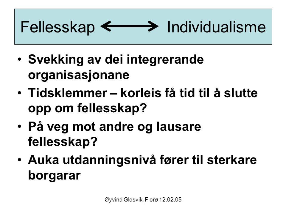 Øyvind Glosvik, Florø 12.02.05 Fellesskap Individualisme Svekking av dei integrerande organisasjonane Tidsklemmer – korleis få tid til å slutte opp om