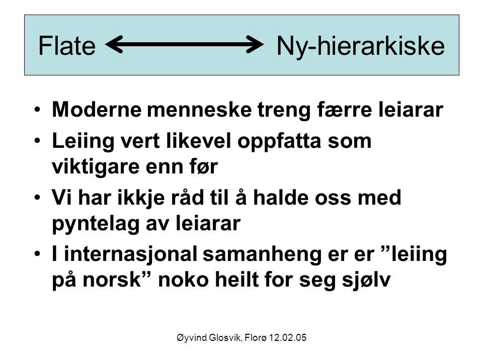 Øyvind Glosvik, Florø 12.02.05 Flate Ny-hierarkiske Moderne menneske treng færre leiarar Leiing vert likevel oppfatta som viktigare enn før Vi har ikk