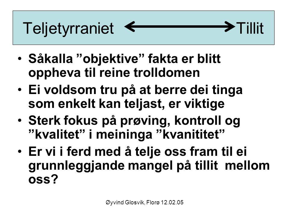 """Teljetyrraniet Tillit Såkalla """"objektive"""" fakta er blitt oppheva til reine trolldomen Ei voldsom tru på at berre dei tinga som enkelt kan teljast, er"""