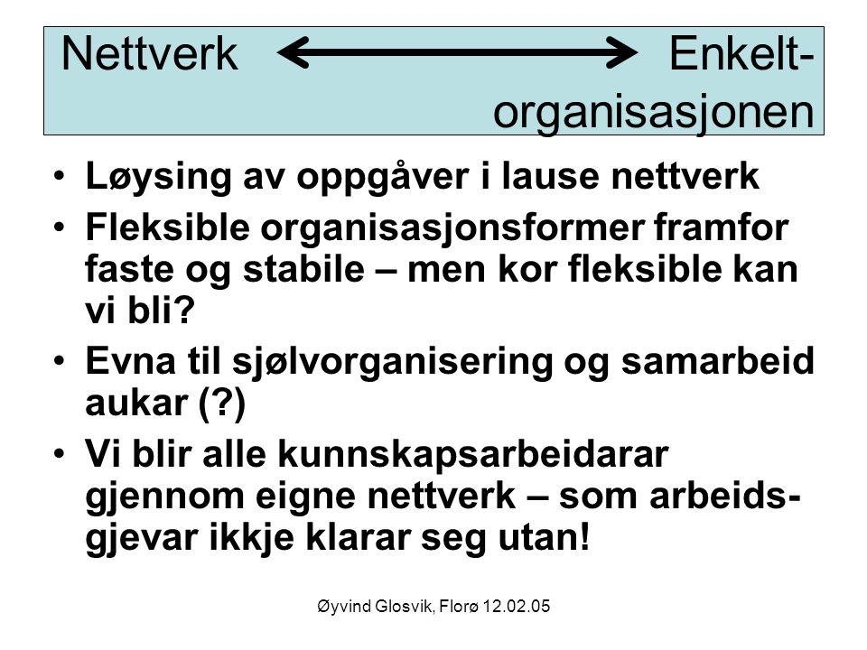 Øyvind Glosvik, Florø 12.02.05 Løysing av oppgåver i lause nettverk Fleksible organisasjonsformer framfor faste og stabile – men kor fleksible kan vi