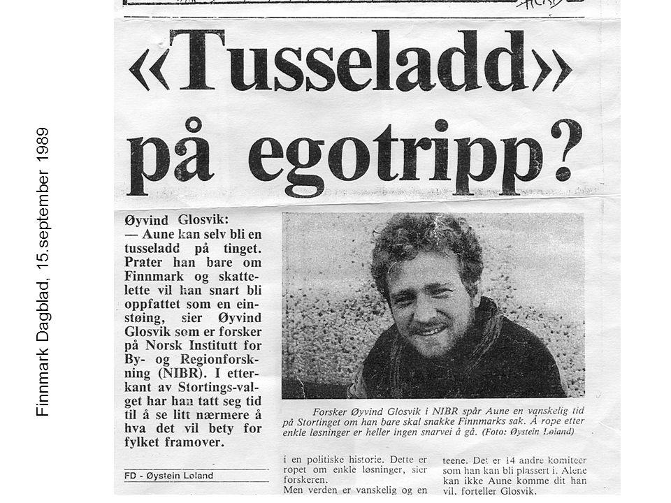 Øyvind Glosvik, Florø 12.02.05 Finnmark Dagblad, 15.september 1989