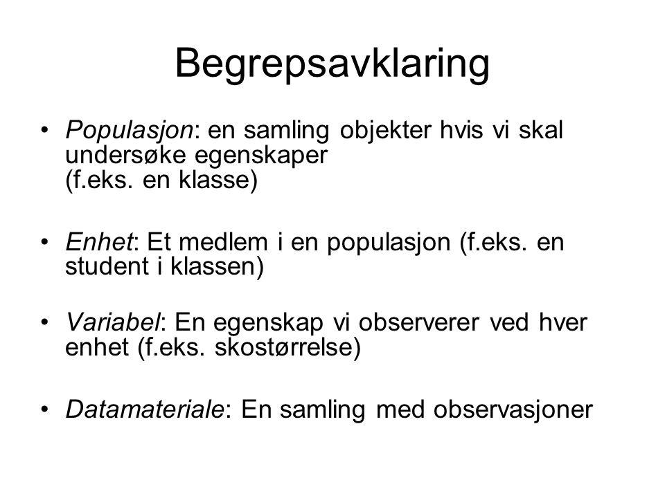Begrepsavklaring Populasjon: en samling objekter hvis vi skal undersøke egenskaper (f.eks. en klasse) Enhet: Et medlem i en populasjon (f.eks. en stud