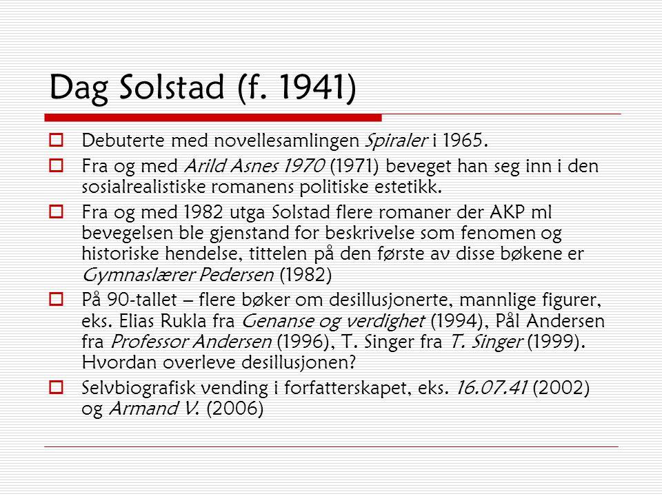 Dag Solstad (f.1941)  Debuterte med novellesamlingen Spiraler i 1965.