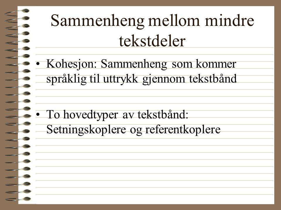 Sammenheng i større tekstdeler Koherens: Sammenhengen mellom større tekstavsnitt. –Sammenheng mellom overskrift - innledning - hoveddel - avslutning –