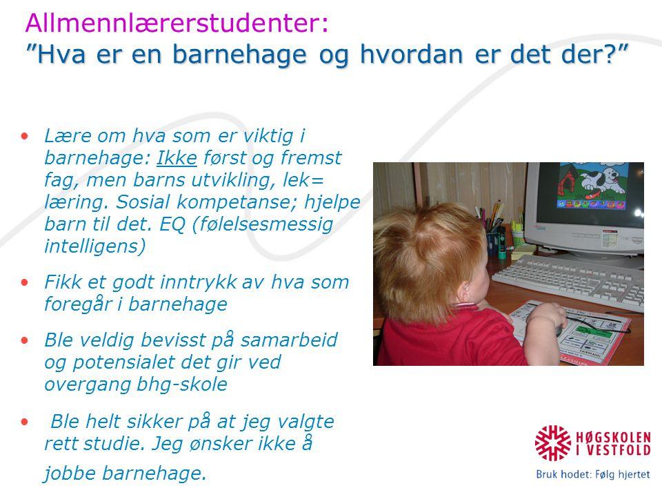 Hva er en barnehage og hvordan er det der? Allmennlærerstudenter: Hva er en barnehage og hvordan er det der? Lære om hva som er viktig i barnehage: Ikke først og fremst fag, men barns utvikling, lek= læring.