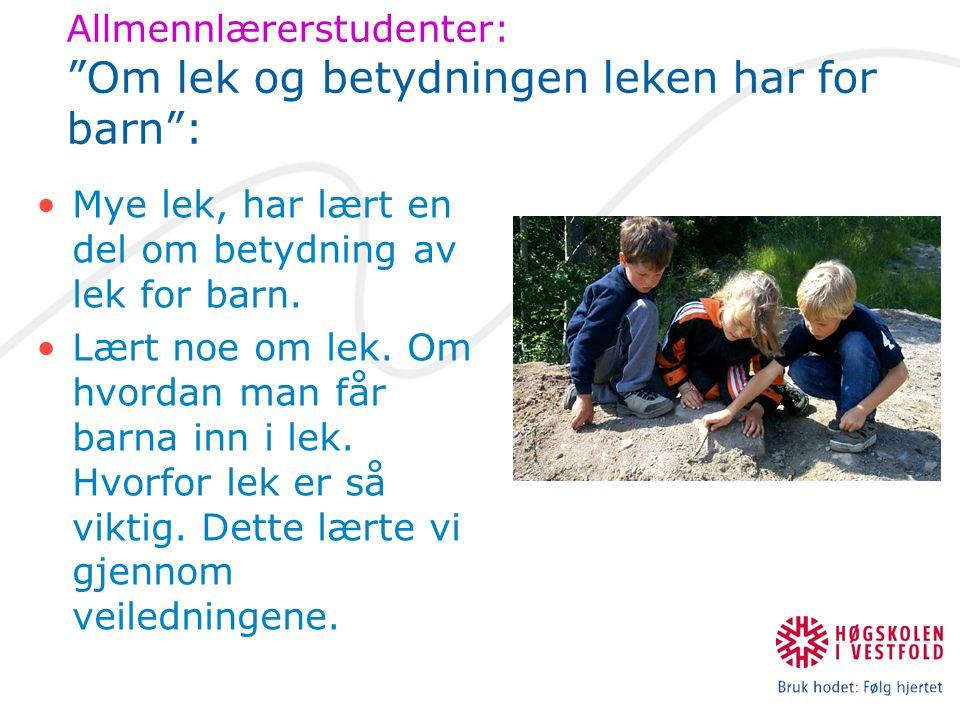 Allmennlærerstudenter: Om lek og betydningen leken har for barn : Mye lek, har lært en del om betydning av lek for barn.