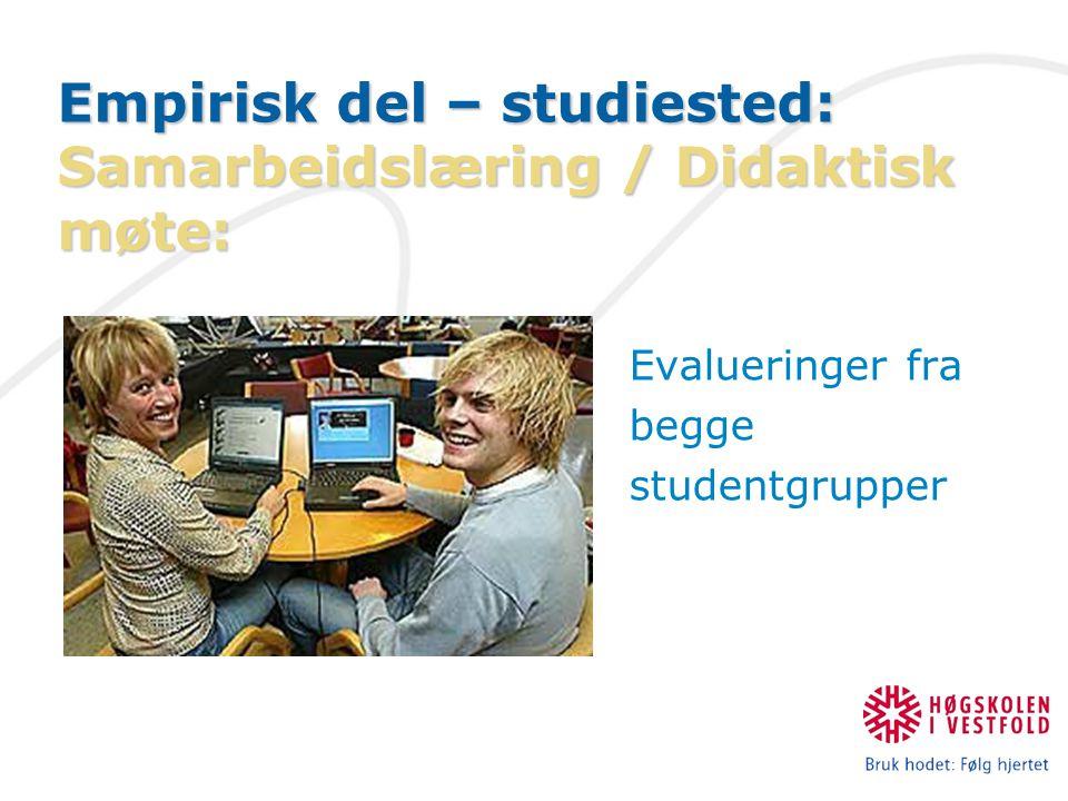Empirisk del – studiested: Samarbeidslæring / Didaktisk møte: Evalueringer fra begge studentgrupper