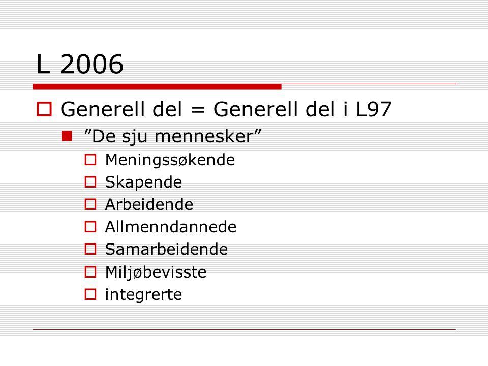 L 2006  Generell del = Generell del i L97 De sju mennesker  Meningssøkende  Skapende  Arbeidende  Allmenndannede  Samarbeidende  Miljøbevisste  integrerte