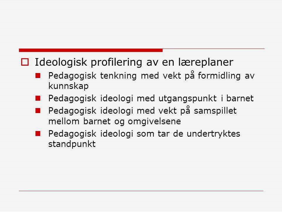  Ideologisk profilering av en læreplaner Pedagogisk tenkning med vekt på formidling av kunnskap Pedagogisk ideologi med utgangspunkt i barnet Pedagogisk ideologi med vekt på samspillet mellom barnet og omgivelsene Pedagogisk ideologi som tar de undertryktes standpunkt