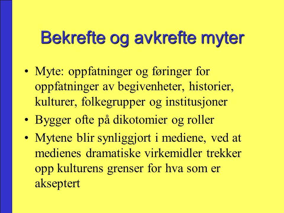 Myte: oppfatninger og føringer for oppfatninger av begivenheter, historier, kulturer, folkegrupper og institusjoner Bygger ofte på dikotomier og rolle