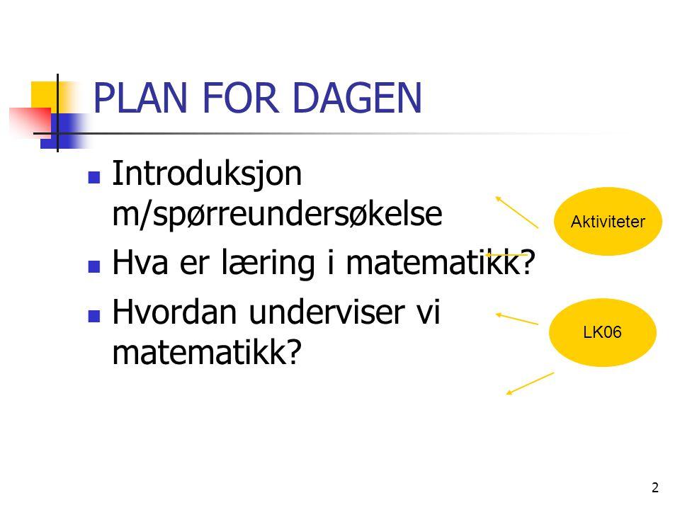 2 PLAN FOR DAGEN Introduksjon m/spørreundersøkelse Hva er læring i matematikk? Hvordan underviser vi matematikk? Aktiviteter LK06