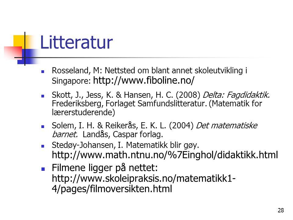 28 Litteratur Rosseland, M: Nettsted om blant annet skoleutvikling i Singapore: http://www.fiboline.no/ Skott, J., Jess, K. & Hansen, H. C. (2008) Del