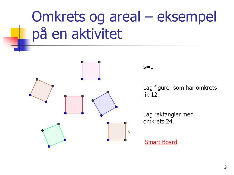 3 Omkrets og areal – eksempel på en aktivitet s=1 Lag figurer som har omkrets lik 12. Smart Board Lag rektangler med omkrets 24.