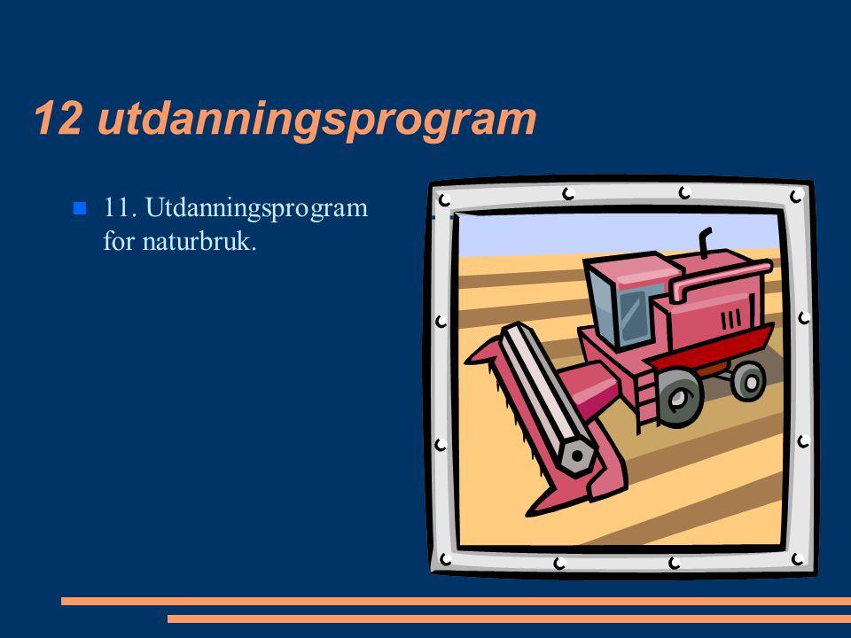 12 utdanningsprogram 11. Utdanningsprogram for naturbruk.