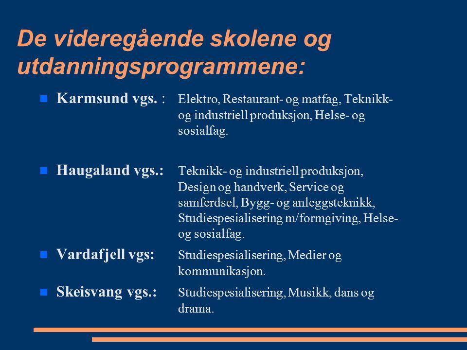 De videregående skolene og utdanningsprogrammene: Karmsund vgs. : Elektro, Restaurant- og matfag, Teknikk- og industriell produksjon, Helse- og sosial