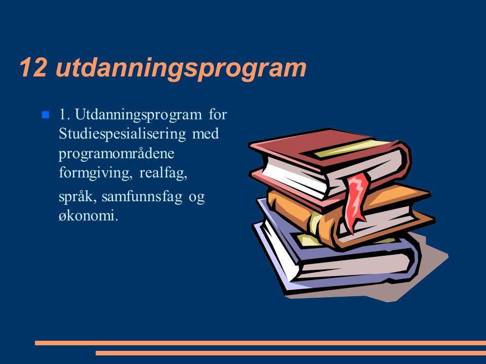 12 utdanningsprogram 1. Utdanningsprogram for Studiespesialisering med programområdene formgiving, realfag, språk, samfunnsfag og økonomi.