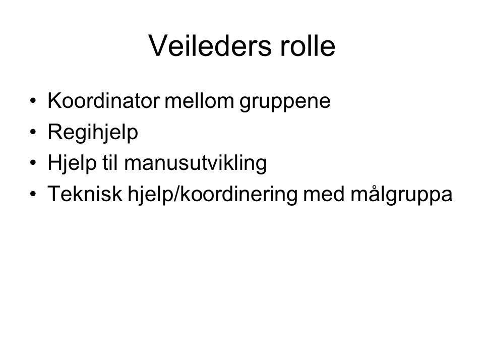 Veileders rolle Koordinator mellom gruppene Regihjelp Hjelp til manusutvikling Teknisk hjelp/koordinering med målgruppa