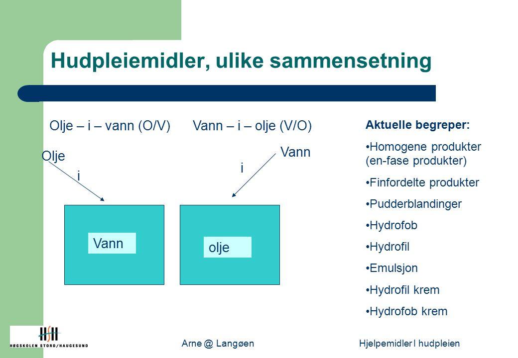 Arne @ LangøenHjelpemidler I hudpleien Hudpleiemidler, ulike sammensetning Vann i Olje Vann i olje Olje – i – vann (O/V)Vann – i – olje (V/O) Aktuelle begreper: Homogene produkter (en-fase produkter) Finfordelte produkter Pudderblandinger Hydrofob Hydrofil Emulsjon Hydrofil krem Hydrofob krem