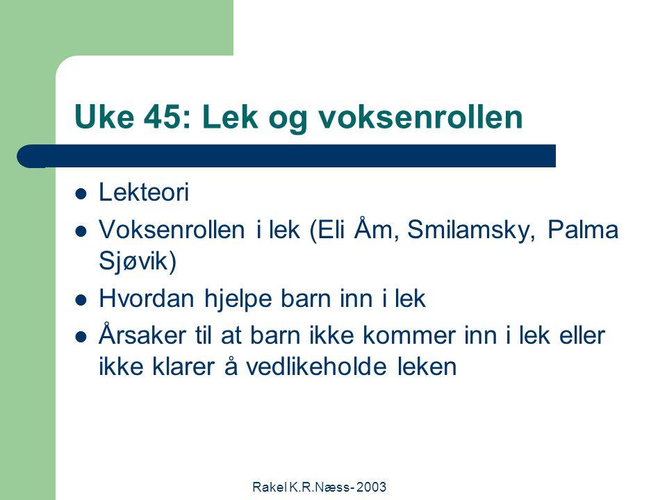 Rakel K.R.Næss- 2003 Uke 45: Lek og voksenrollen Lekteori Voksenrollen i lek (Eli Åm, Smilamsky, Palma Sjøvik) Hvordan hjelpe barn inn i lek Årsaker til at barn ikke kommer inn i lek eller ikke klarer å vedlikeholde leken