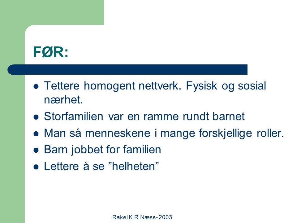Rakel K.R.Næss- 2003 FØR: Tettere homogent nettverk.