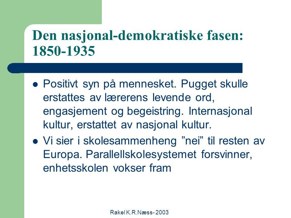 Rakel K.R.Næss- 2003 Den nasjonal-demokratiske fasen: 1850-1935 Positivt syn på mennesket.