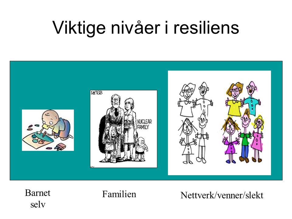 Viktige nivåer i resiliens Barnet selv Familien Nettverk/venner/slekt