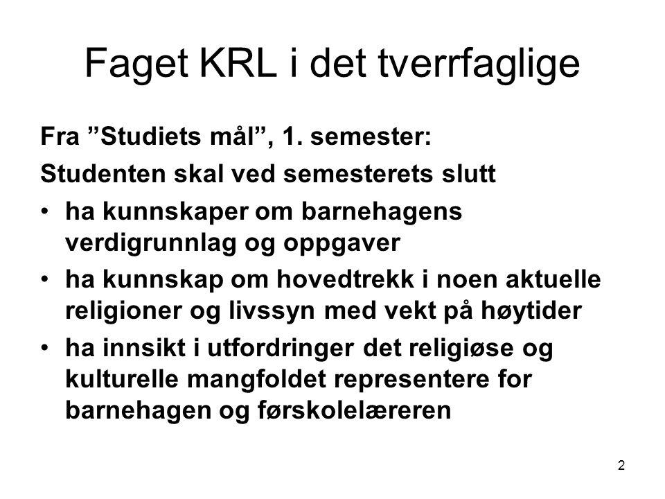2 Faget KRL i det tverrfaglige Fra Studiets mål , 1.