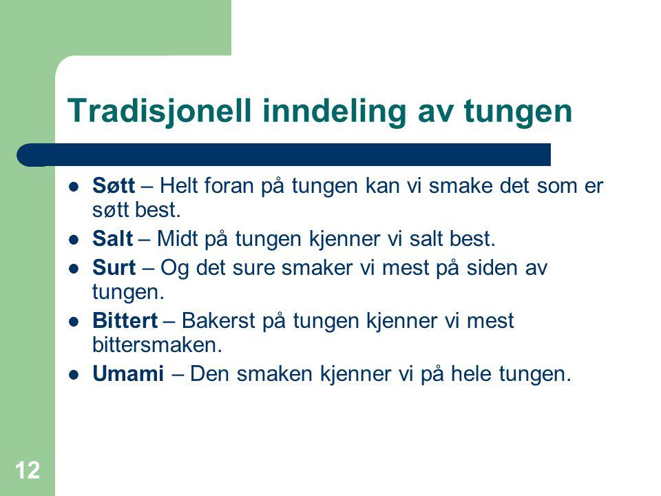 12 Tradisjonell inndeling av tungen Søtt – Helt foran på tungen kan vi smake det som er søtt best. Salt – Midt på tungen kjenner vi salt best. Surt –