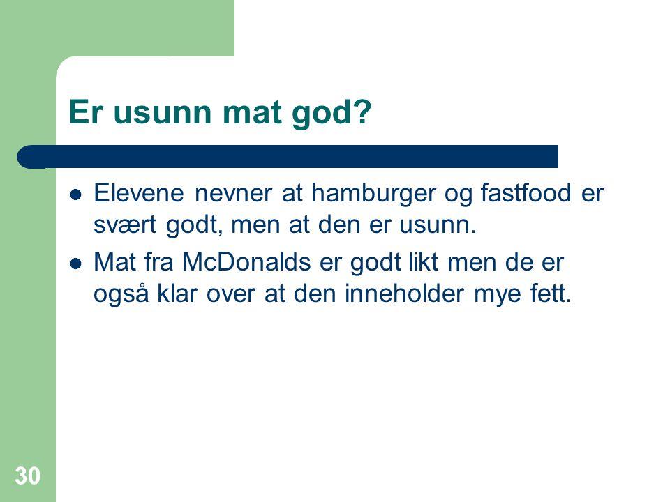 30 Er usunn mat god? Elevene nevner at hamburger og fastfood er svært godt, men at den er usunn. Mat fra McDonalds er godt likt men de er også klar ov
