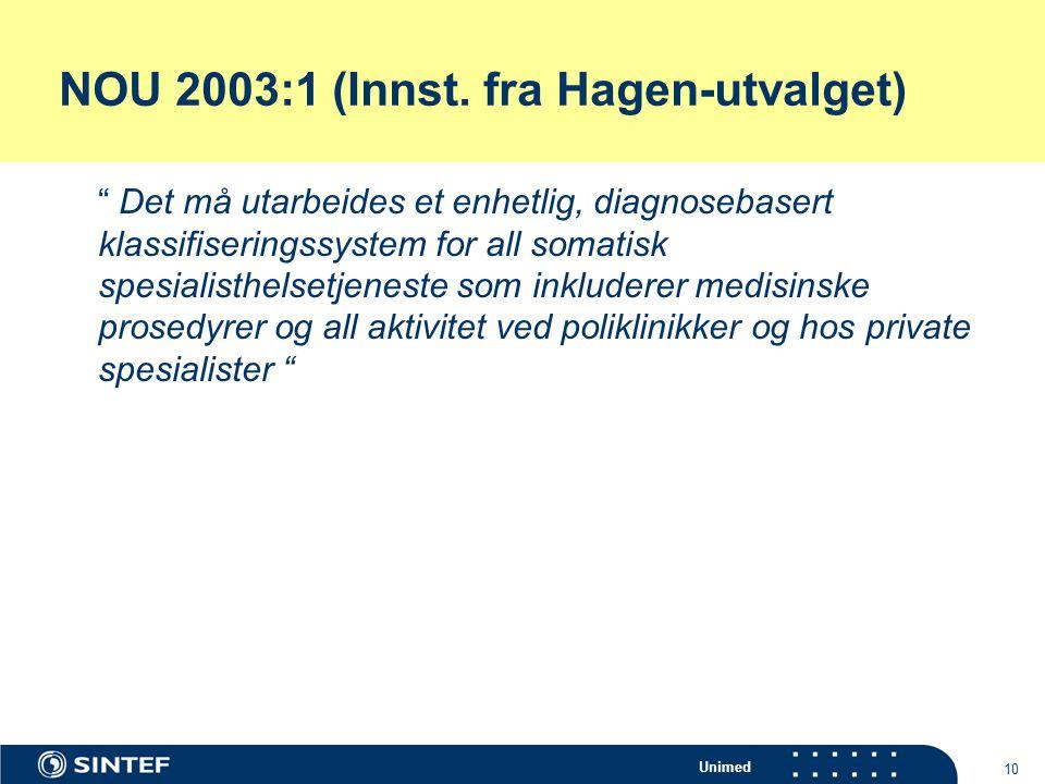 """Unimed 10 NOU 2003:1 (Innst. fra Hagen-utvalget) """" Det må utarbeides et enhetlig, diagnosebasert klassifiseringssystem for all somatisk spesialisthels"""
