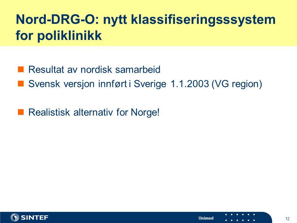 Unimed 12 Nord-DRG-O: nytt klassifiseringsssystem for poliklinikk Resultat av nordisk samarbeid Svensk versjon innført i Sverige 1.1.2003 (VG region)