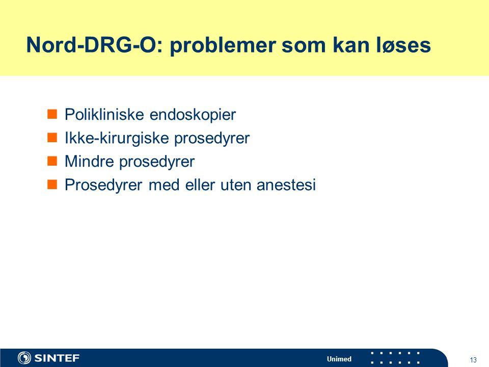 Unimed 13 Nord-DRG-O: problemer som kan løses Polikliniske endoskopier Ikke-kirurgiske prosedyrer Mindre prosedyrer Prosedyrer med eller uten anestesi