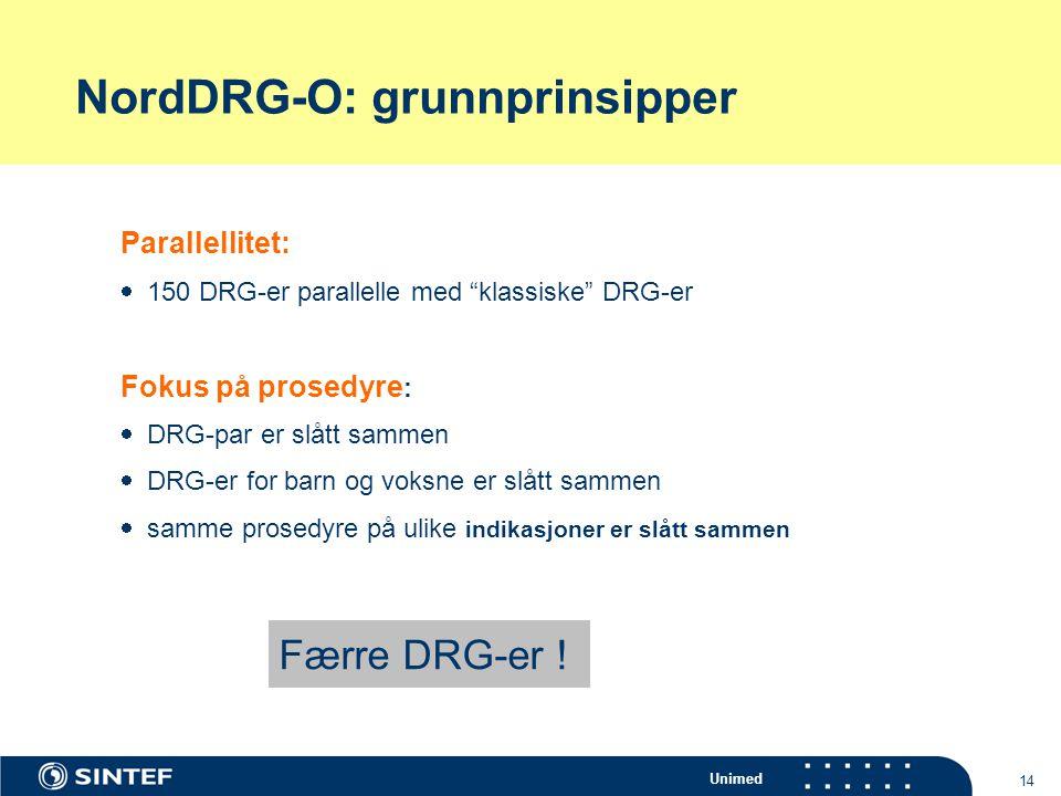 """Unimed 14 NordDRG-O: grunnprinsipper Parallellitet:  150 DRG-er parallelle med """"klassiske"""" DRG-er Fokus på prosedyre :  DRG-par er slått sammen  DR"""