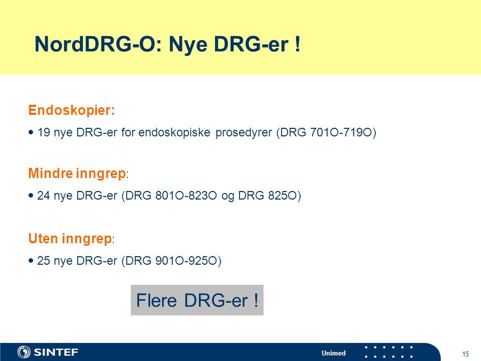 Unimed 15 NordDRG-O: Nye DRG-er ! Endoskopier:  19 nye DRG-er for endoskopiske prosedyrer (DRG 701O-719O) Mindre inngrep :  24 nye DRG-er (DRG 801O-