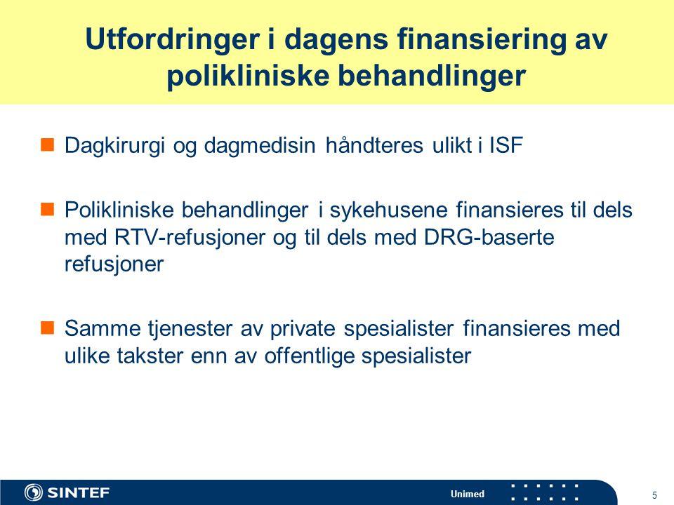 Unimed 5 Utfordringer i dagens finansiering av polikliniske behandlinger Dagkirurgi og dagmedisin håndteres ulikt i ISF Polikliniske behandlinger i sy