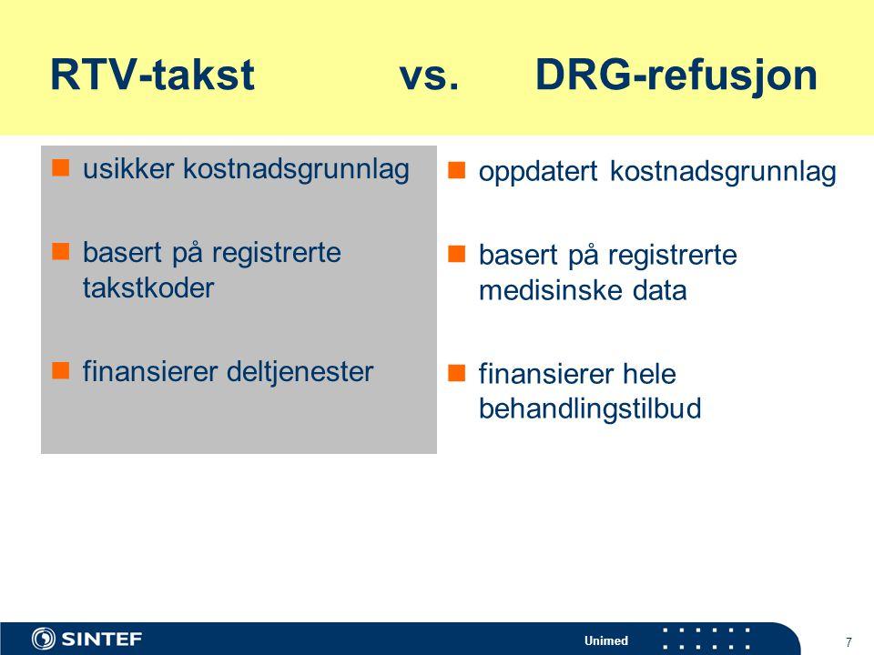 Unimed 8 Konsekvenser av ulike takstsystemer for offentlige og private spesialister  ulik beskrivelse av samme behandling  ulik pris for samme behandling  oversikt, planlegging og sammenligning problematisk