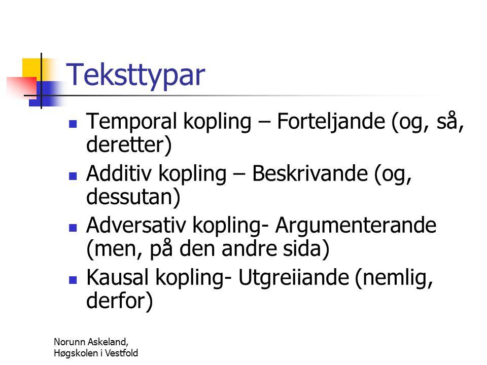 Norunn Askeland, Høgskolen i Vestfold Teksttypar Temporal kopling – Forteljande (og, så, deretter) Additiv kopling – Beskrivande (og, dessutan) Adversativ kopling- Argumenterande (men, på den andre sida) Kausal kopling- Utgreiiande (nemlig, derfor)