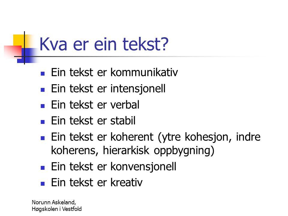 Norunn Askeland, Høgskolen i Vestfold Kva er ein tekst.