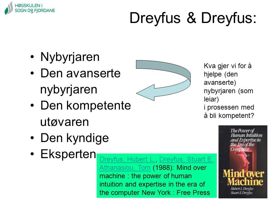Dreyfus & Dreyfus: Nybyrjaren Den avanserte nybyrjaren Den kompetente utøvaren Den kyndige Eksperten Kva gjer vi for å hjelpe (den avanserte) nybyrjar